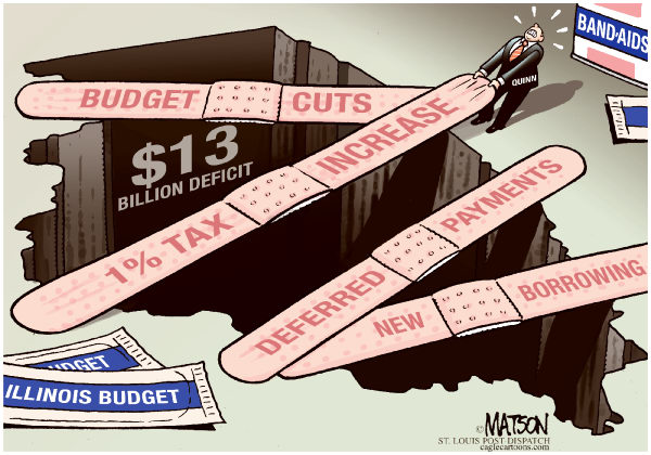 75730 600 Local IL Budget Deficit Band Aids cartoons
