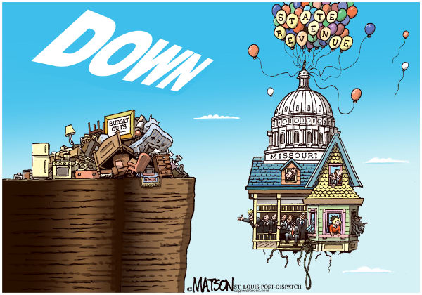 78556 600 Local MO Missouri Budget Goes Down cartoons