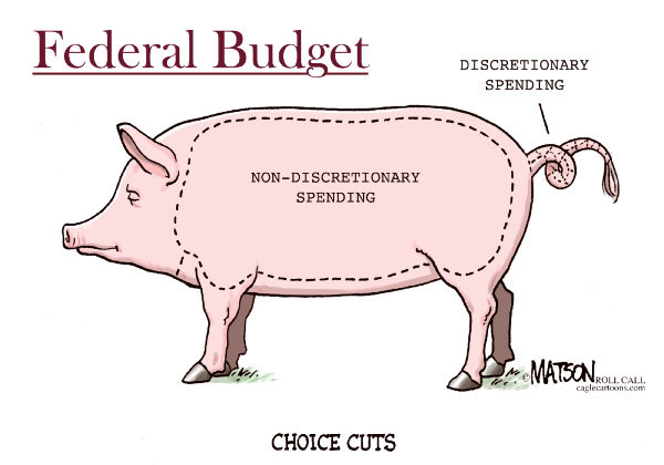 Federal Budget Choice Cuts-COLOR © RJ Matson,Roll Call,Federal Budget,Choice Cuts,Discretionary Spending,Non-Discretionary Spending