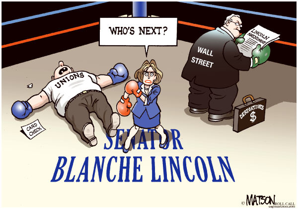 79527 600 Senator Blanche Lincoln Beats The Unions cartoons