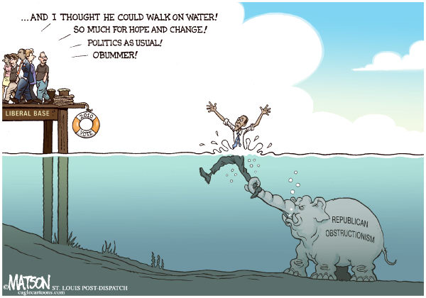 RJ Matson - The St. Louis Post Dispatch - Liberal Base Deserts Obama-COLOR - English - Liberal Base Deserts Obama, President Obama, Republican Obstructionism, Democrats, Walk On Water