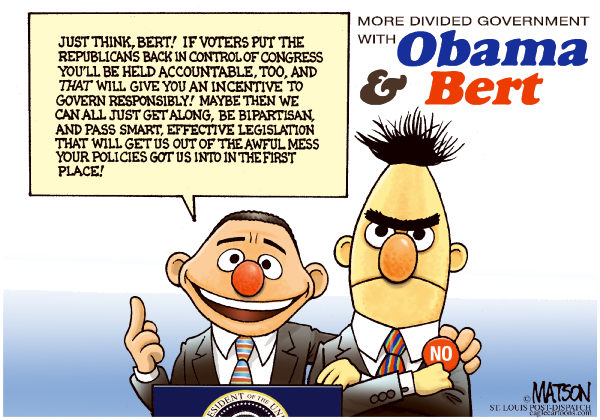 More Divided Government With Obama & Bert-COLOR © RJ Matson,The St. Louis Post Dispatch,More Divided Government With Obama & Bert, President Obama, Republicans, Congress, Bipartisanship, Bipartisan, 2010 Congressional Elections, Midterm Elections, Ernie And Bert, spending