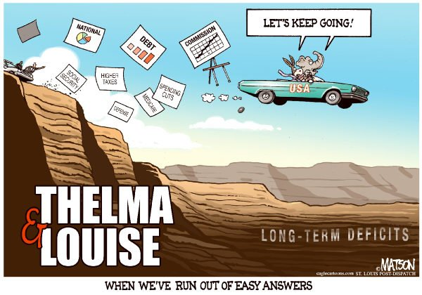 85682 600 Thelma & Louise Run From Deficit Commission Recommendations cartoons