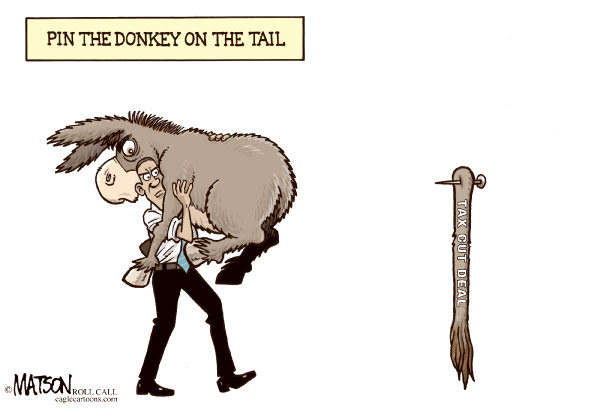 86698 600 Pin The Donkey On The Tax Cut Deal cartoons