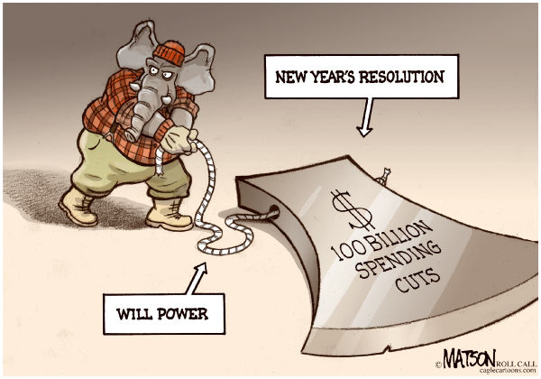 87677 600 New Years Budget Cutting Resolution cartoons