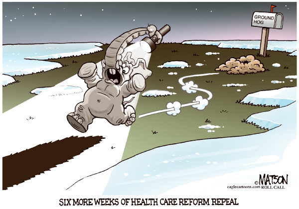 GOP Ground Hog Day-COLOR © RJ Matson,Roll Call,GOP Ground Hog Day, Health Care Reform, Repeal, Republicans, Congress