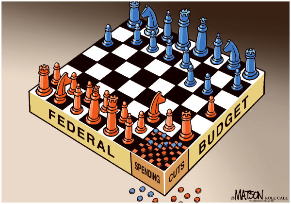 90033 600 Federal Budget Cuts Chess and Checkers Board cartoons