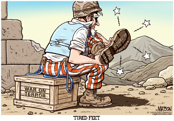 Tired Feet-COLOR © RJ Matson,The St. Louis Post Dispatch,Tired Feet, Uncle Sam, USA, US Military, America, War, War On Terror, Afghanistan, Iraq, Libya, Pakistan