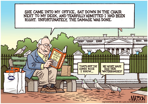 97704 600 Dick Cheney Book Reading cartoons