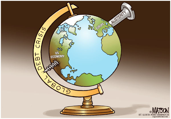 Global Debt Crisis-COLOR © RJ Matson,The St. Louis Post Dispatch,Global Debt Crisis, Europe, Euro, Greece, Austerity, USA, US Economy, Global Economy, screw