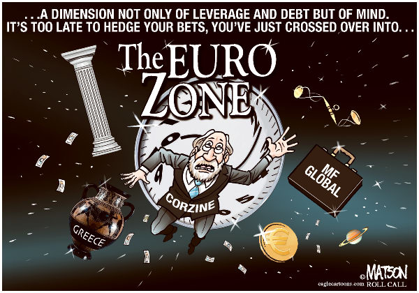 The Euro Zone-COLOR © RJ Matson,Roll Call,The Euro Zone, MF Global, John Corzine, Greece, Leverage, Debt, Sovereign Debt, Wall Street, Bankruptcy, Europe, Euro, Euros