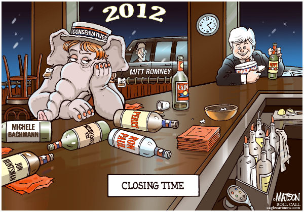 Closing Time-COLOR © RJ Matson,Roll Call,Closing Time, Newt Gingrich, Mitt Romney, Conservatives, Conservative republicans, Republican Party, 2012 Presidential Primaries, 2012 Presidential Nomination, Perry, Cain, Bachmann, Huntsman, Paul, Santorum