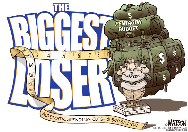The Biggest Loser-COLOR © RJ Matson,The St. Louis Post Dispatch,The Biggest Loser, Pentagon Budget, Military Spending, US Taxpayers, Automatic Budget Cuts, Congress, Deficit Reduction