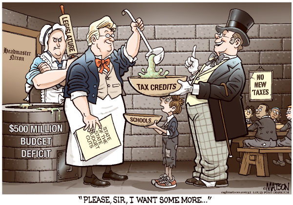 Local MO-Twisted Budget Priorities-COLOR © RJ Matson,The St. Louis Post Dispatch,Local MO-Twisted Budget Priorities, Missouri, Budget, Deficit, Schools, Tax Credits, Business, Governor Nixon, State Legislature, Oliver Twist