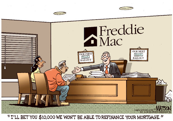 Freddie Mac Bets Against Homeowners-COLOR © RJ Matson,The St. Louis Post Dispatch,Freddie Mac Bets Against Homeowners, Federal, Home, Loan, Mortgage, Corporation, Freddie MAC, Homeowners, Refinance, Refinancing, Securities, Inverse Floaters, Wall Street, Bet