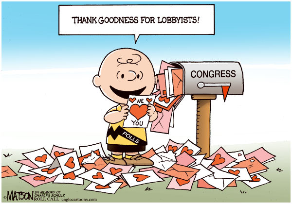 RJ Matson - Roll Call - Valentines for Congress-COLOR - English - Valentines for Congress, Valentines Day, Congress, Polls, Approval Rating, Lobbyists, Charlie Brown