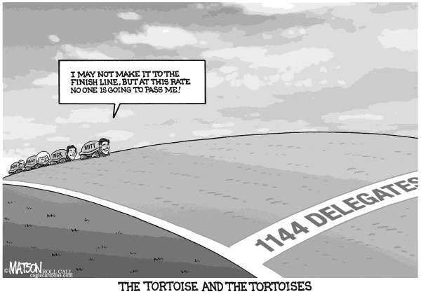 RJ Matson - Roll Call - The Tortoise and the Tortoises - English - The Tortoise and the Tortoises, Mitt Romney, Rick Santorum, Newt Gingrich, Ron Paul, Delegate Race, 1144 Delegates, 2012 Republican Nomination, 2012 Presidential Race