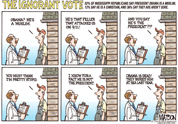 Mississippi Republicans Don't Know Obama is a Christian © RJ Matson,The St. Louis Post Dispatch,Mississippi Republicans Don't Know Obama is a Christian, Mississippi, Republican Party, Republican Primary, Ignorance, Ignorant, Voters, Vote, President Obama, Poll, Osama Bin Laden, 9/11, Christian, Muslim