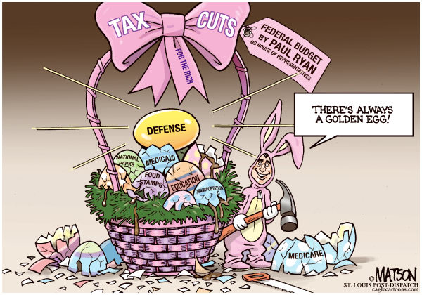 Ryan Budget Basket © RJ Matson,The St. Louis Post Dispatch,Ryan Budget Basket, Easter Basket, Paul Ryan, Ryan Budget, House Of Representatives, House Republicans, Tax Cuts, Spending Cuts, Medicare, medicaid, Education, National Parks, Transportation