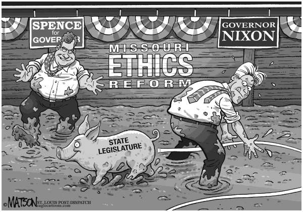 RJ Matson - The St. Louis Post Dispatch - Local MO-Governor Nixon and Candidate Spence Embrace Ethics Reform - English - Local MO-Governor Nixon and Candidate Spence Embrace Ethics Reform, Missouri, Ethics, Reform, State Legislature, Governor Nixon, David Spence, 2012 Gubernatorial Election