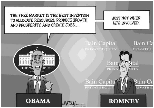 RJ Matson - Roll Call - President Obama Supports The Free Market - English - President Obama Supports The Free Market, President Obama, Mitt Romney, Free Market, Capitalism, Private equity, Bain Capital, Jobs, Job Creation
