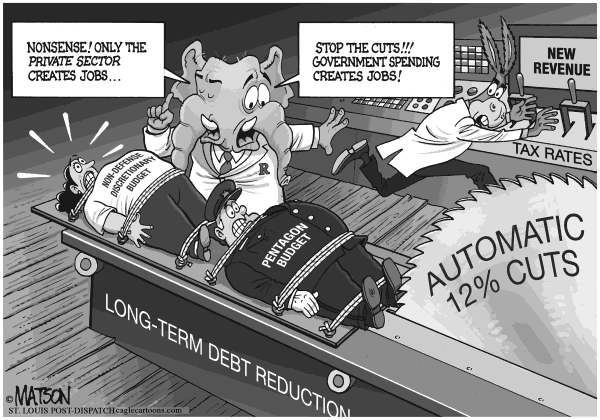 RJ Matson - The St. Louis Post Dispatch - Automatic Pentagon Cuts Would Kill Jobs, Pentagon Budget - English - Automatic Pentagon Cuts Would Kill Jobs, Pentagon Budget, Non-Defense Budget, Discretionary Spending, Long-Term Debt Reduction, Federal Budget,  Congress, Democrats, republicans, Government Spending, private sector, Jobs