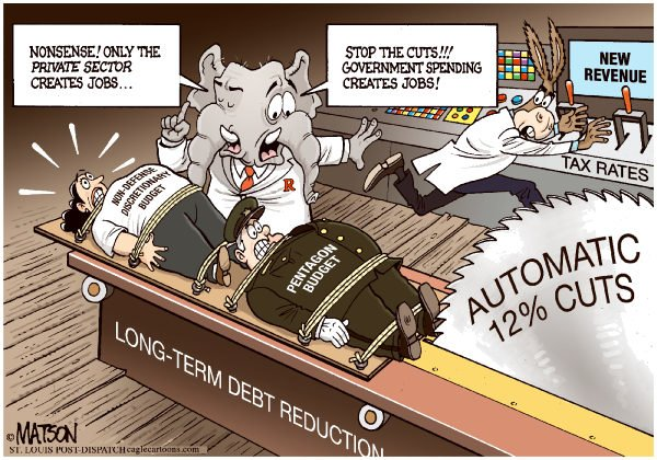Automatic Pentagon Cuts Would Kill Jobs © RJ Matson,The St. Louis Post Dispatch,Automatic Pentagon Cuts Would Kill Jobs, Pentagon Budget, Non-Defense Budget, Discretionary Spending, Long-Term Debt Reduction, Federal Budget,  Congress, Democrats, republicans, Government Spending, private sector, Jobs