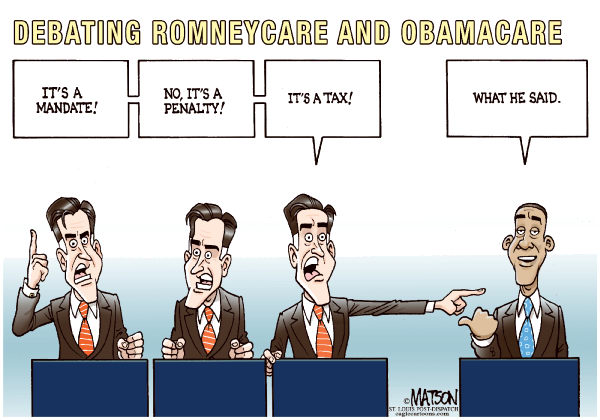 RJ Matson - The St. Louis Post Dispatch -  - English - Debating Romneycare and Obamacare, Mitt Romney, President Obama, Affordable Care Act, Health Care Reform, Individual Mandate, Penalty, Tax, 2012 Presidential Election