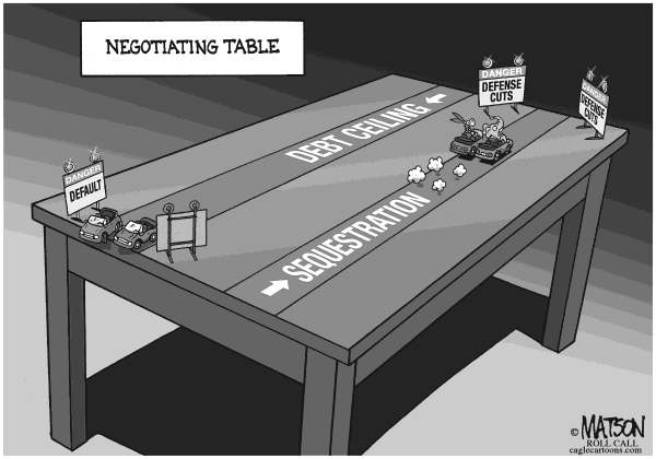 RJ Matson - Roll Call - Negotiating Table - English - Negotiating Table, Fiscal Cliff, Chicken, Congress, Republicans, Democrats, Federal Budget, Automatic Cuts, Defense Spending, Sequestration, Debt Ceiling, Debt Limit