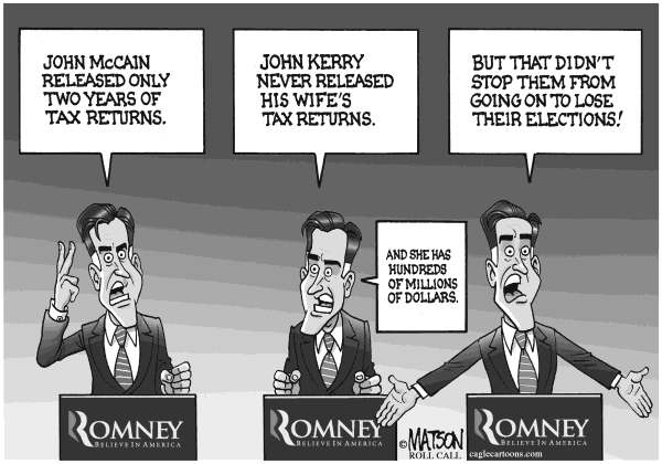 RJ Matson - Roll Call - Tax Returns and Election Returns - English - Tax Returns and Election Returns, Mitt Romney, Taxes, John McCain, John Kerry, 2012 Election, 2012 Presidential Election