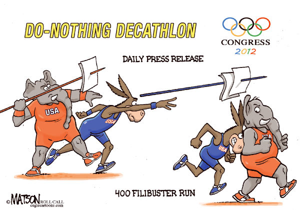RJ Matson - Roll Call - Do-Nothing Congress Olympics Part III-COLOR - English - Do-Nothing Congress Olympics Part II, 2012 Elections, Congress, Democrats, Republicans