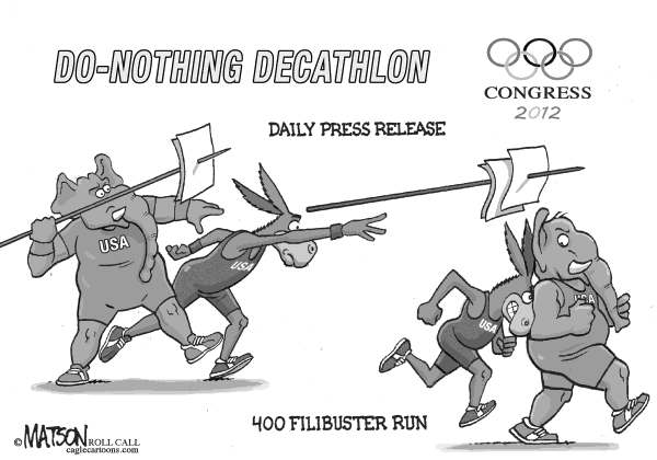 RJ Matson - Roll Call - Do-Nothing Congress Olympics Part III - English - Do-Nothing Congress Olympics Part III, Congress, 2012 Elections,  Democrats, Republicans
