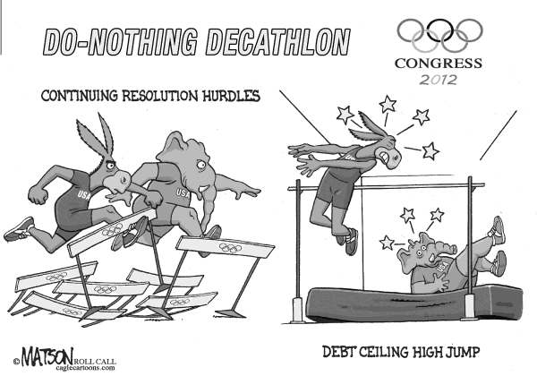 RJ Matson - Roll Call - Do-Nothing Congress Olympics Part V - English - Do-Nothing Congress Olympics Part V, Congress, 2012 Elections, Democrats, Republicans
