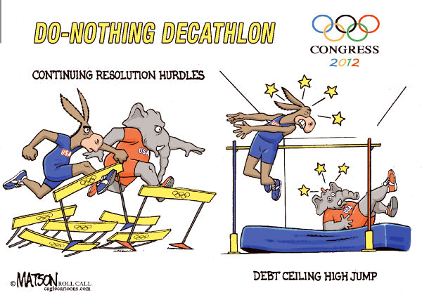 RJ Matson - Roll Call - Do-Nothing Congress Olympics Part V-COLOR - English - Do-Nothing Congress Olympics Part V, Congress, 2012 Elections, Democrats, Republicans
