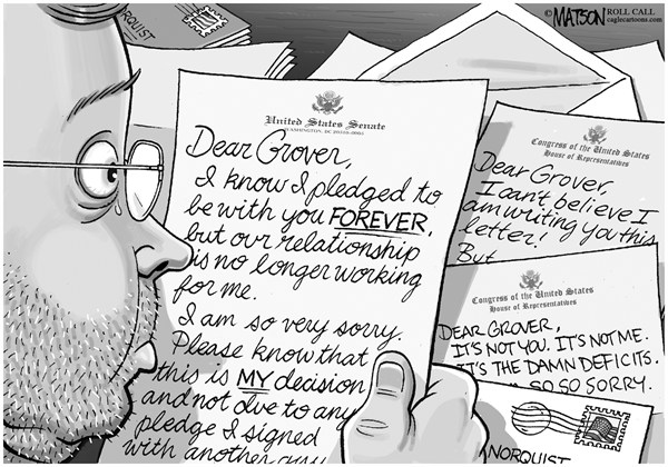 RJ Matson - Roll Call - Dear Grover Letters - English - Dear Grover Letters, Grover Norquist, Tax Cut Pledge, Taxes, Republicans, Congress, House, Senate, Federal Budget, Deficits, Revenue, Tax Rates