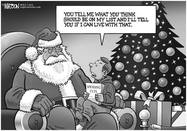 RJ Matson - Roll Call - Spending Cuts Wish List - English - Spending Cuts Wish List, Congress, Fiscal Cliff, Federal Budget, Santa Claus, Christmas Wish List, Negotiation, Strategy