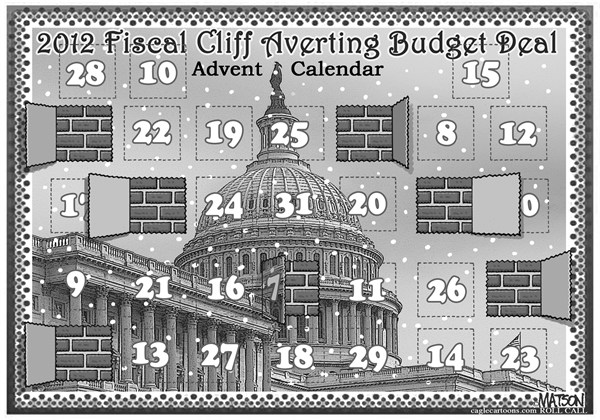 RJ Matson - Roll Call - Fiscal Cliff Averting Budget Deal Advent Calendar - English - Fiscal Cliff Averting Budget Deal Advent Calendar, Congress, Christmas, Advent Calendar, Fiscal Cliff, Federal Budget, Budget Deal