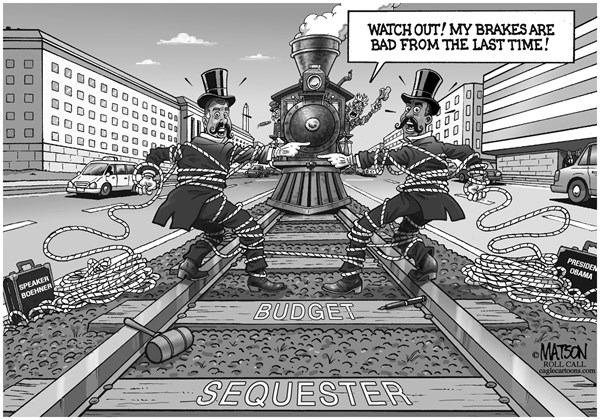 RJ Matson - Roll Call - Budget Sequester Villains - English - Budget Sequester Villains, Sequestration, Federal Budget, Automatic Budget Cuts, President Obama, Speaker Boehner, Across The Board Spending Cuts, Economy, Recovery
