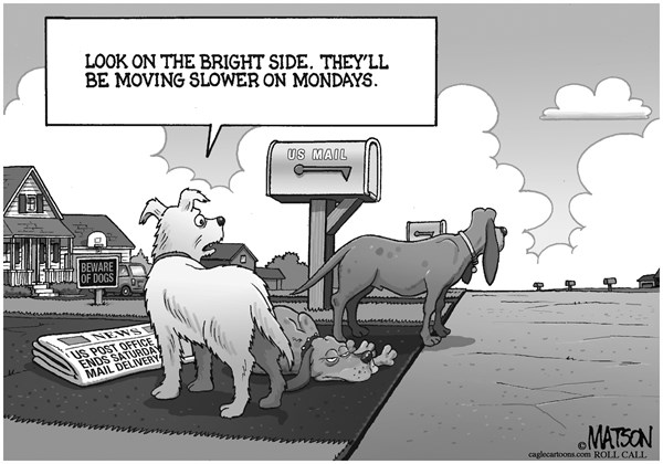 RJ Matson - Roll Call - Dogs Lament End of Saturday Mail - English - Dogs Lament End of Saturday Mail, US Post Office, Saturday Delivery, Rural America, USPS
