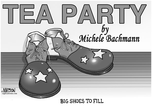 RJ Matson -  - Michele Bachmann Leaves Big Shoes to Fill - English - Michele Bachmann Leaves Big Shoes to Fill, Michele Bachmann, Tea Party, Congress, Tea Party Caucus, House, House of Representatives, Clown Shoes