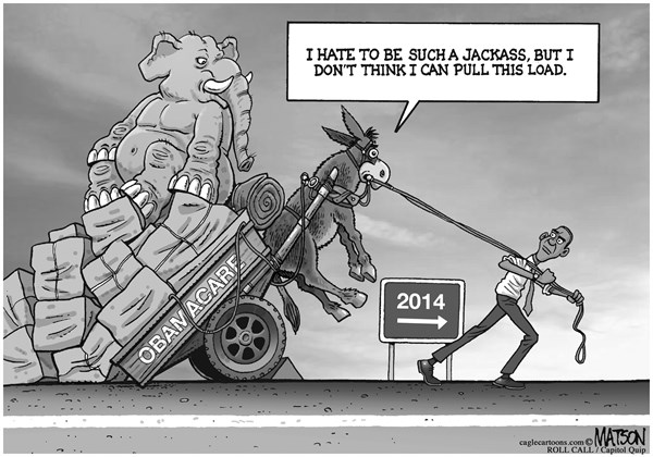 RJ Matson - Roll Call - Obamacare is a Heavy Load for Democrats - English - Obamacare is a Heavy Load for Democrats, Obamacare, Affordable Care Act, President Obama, Democrats, Democratic Party, 2014 Elections,Congress, Republicans, Republican Party