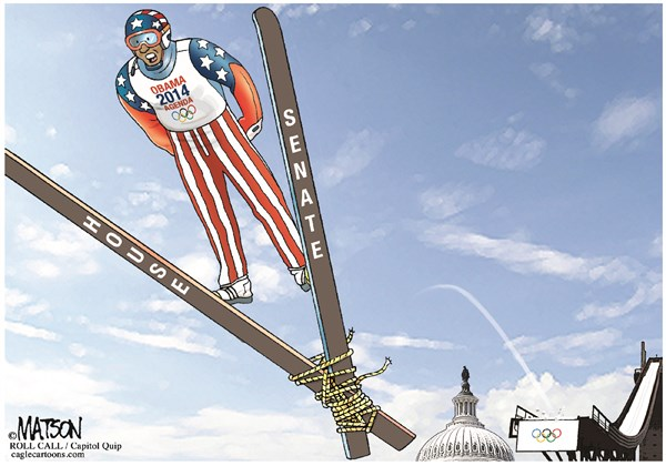 RJ Matson -  - Obama Skis Are Tied Up By Congress NO CAPTION VERSION-COLOR - English - Obama Skis Are Tied Up By Congress NO CAPTION VERSION, President Obama, 2014, Agenda, Executive Action, Congress, House, Senate, Olympics, Ski Jump