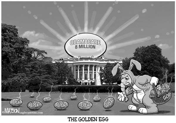 RJ Matson -  - Obamacare Easter Egg Hunt - English - Obamacare Easter Egg Hunt, Obamacare, 8 Million, White House, The Golden Egg, Republican Party, Republicans, Repeal, Easter Bunny, GOP, Elephant