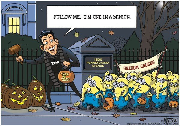Trick or Treating with Speaker Ryan and His Minions, RJ Matson,Roll Call,Trick or Treating with Speaker Ryan and His Minions, House, Republicans, Speaker, Representatives, Congress, Paul, Ryan, Freedom, Caucus, Conservatives, Halloween, White House, Trick, Treat