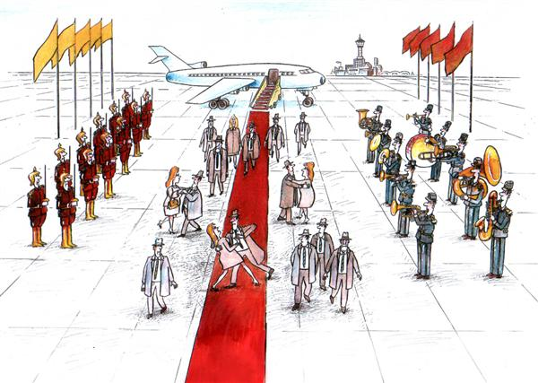 Pavel Constantin - Romania - Official visit - English - plane, official, visit, dance, presiden,t secretary, red, carpet, music,