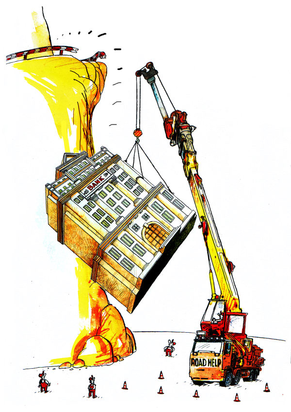 Pavel Constantin - Romania - Bank Help - English - Help, money,banks,crisis,recession,affairs,business,economy,politics, crane, lift, cliff