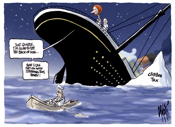 Paul Zanetti - Australia - Carbon Tax Iceberg - English - titanic,iceberg,steering