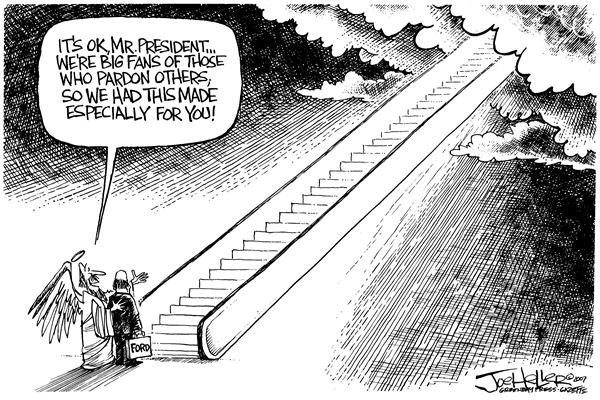 Joe Heller - Green Bay Press-Gazette - President Ford - English - president gerald ford escalator stairway to heaven saint st. Peter memorial
