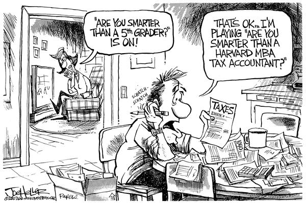 Joe Heller - Green Bay Press-Gazette - Tax time - English - tax taxes IRS doing taxes 1040 april 15 tax deadline smarter than fifth grader 5th grader accounting