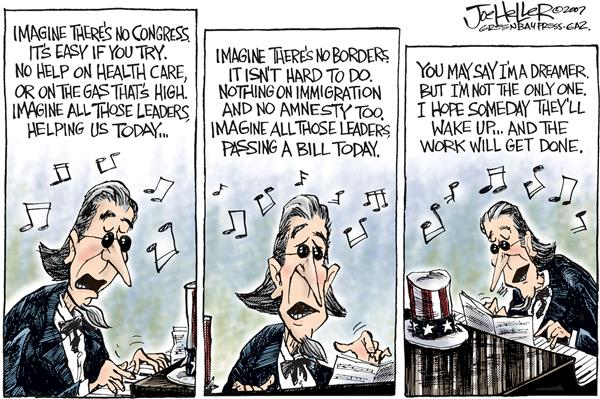 Joe Heller - Green Bay Press-Gazette - Imagine theres no Congress - English - Imagine theres no Congress, immigrantion, health care, gas prices, opec, congress, uncle sam, john lennon, imagine song, beatles